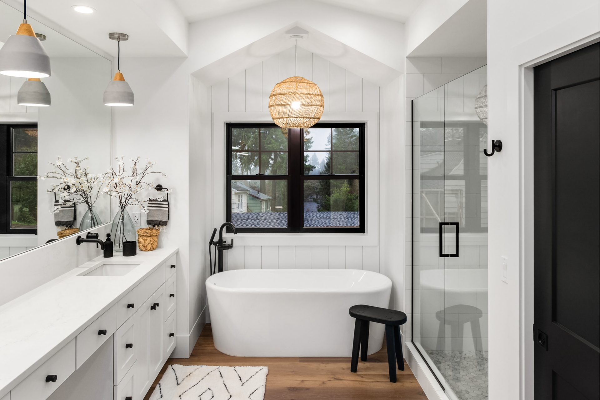 Header Beautiful White Bathroom With Black Accents