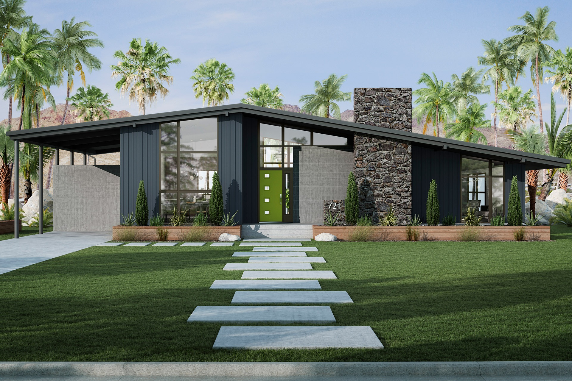 A mid-century modern home with exterior features that include large windows, a sloped roof, and a bright green door