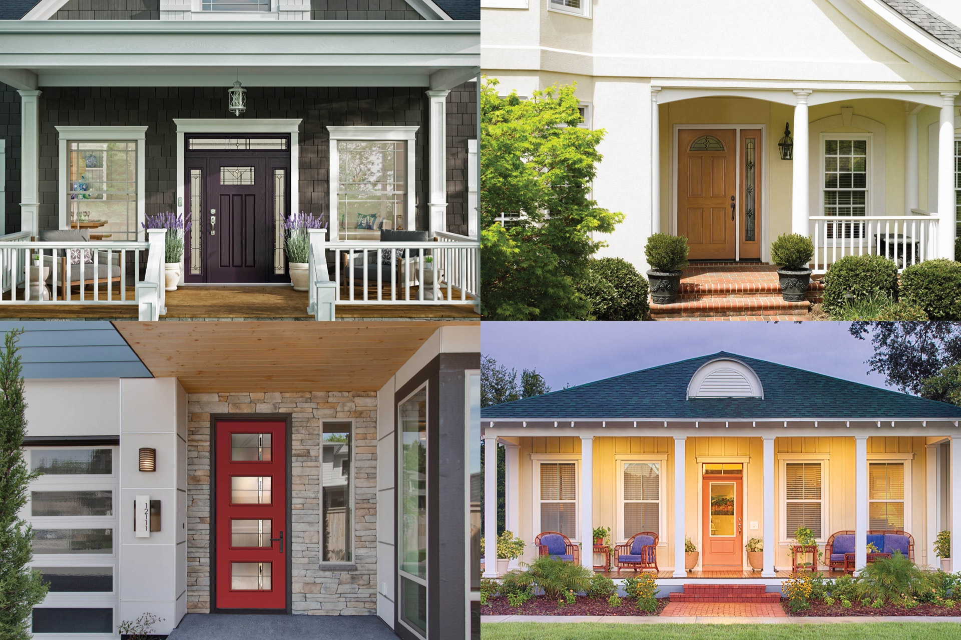 Collage of colored front doors