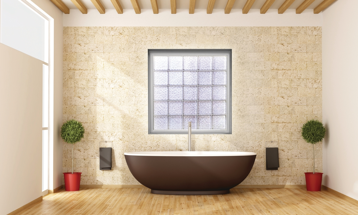 A bathroom picture window made from acrylic block