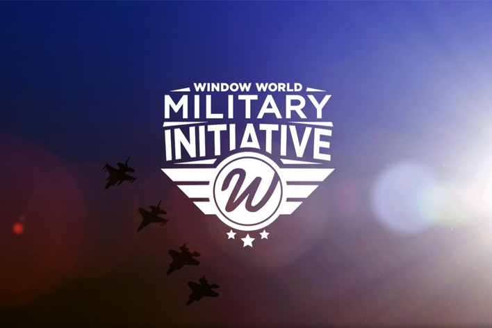 The Window World Military Initiative logo with sky and airplanes in the background