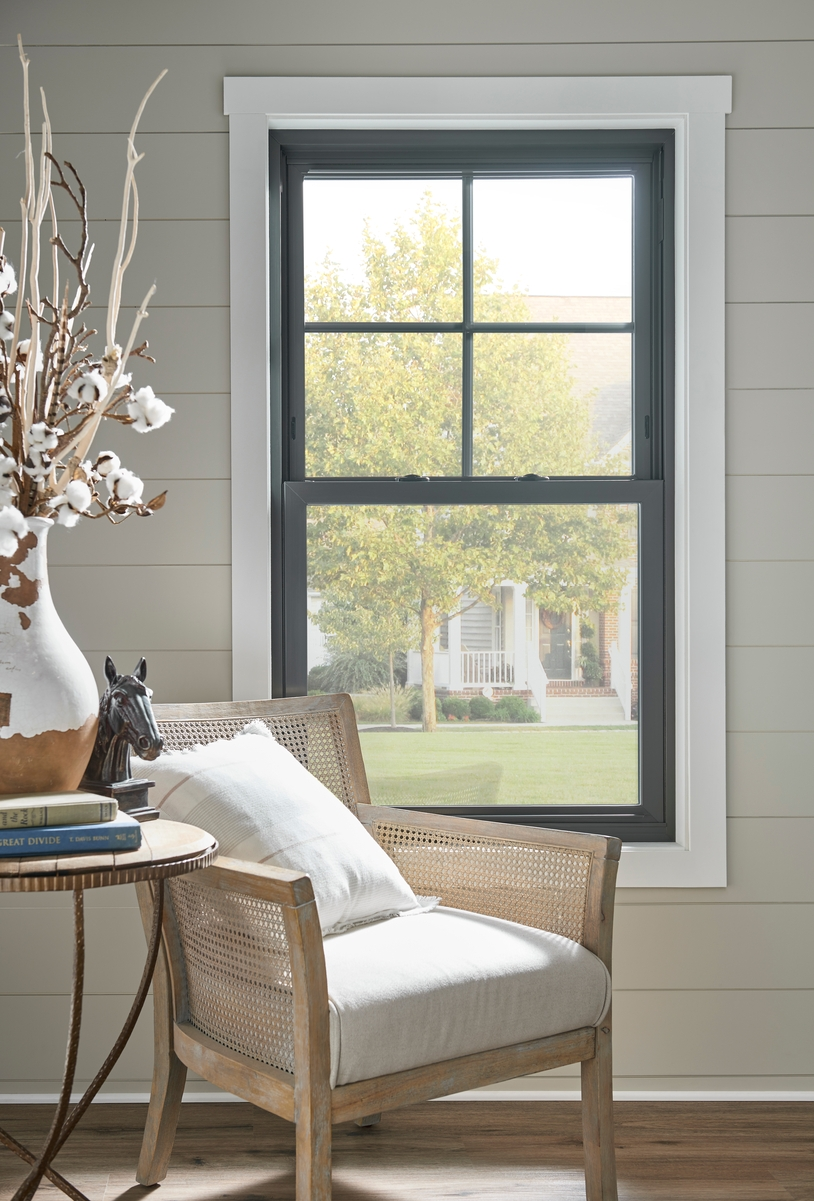 Black-framed double-hung window with traditional grid on top sash