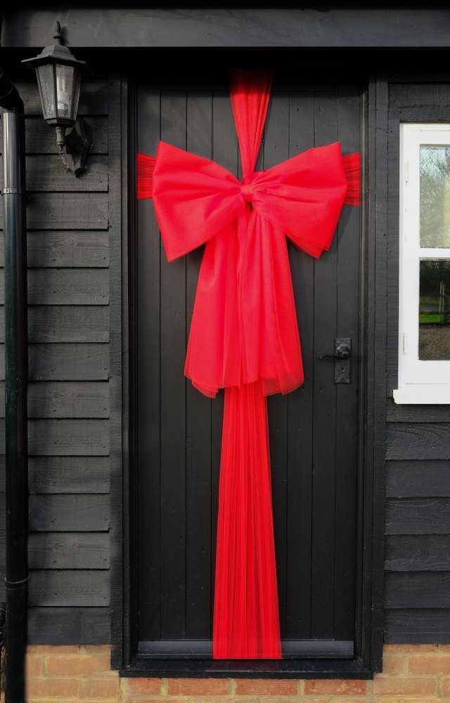 Door wrapped in a bow