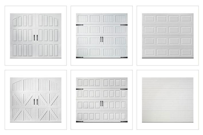 Collection of six different garage door designs, all in white