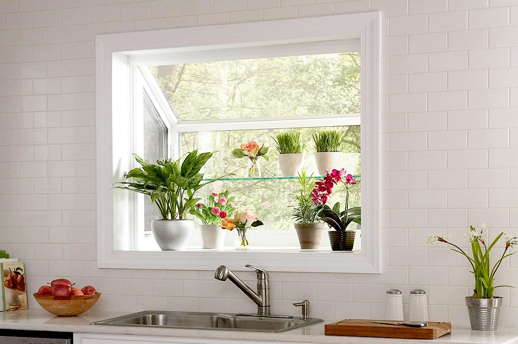 Kitchen garden window with shelf space