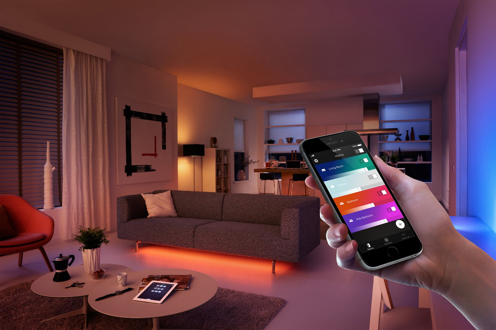 Smart lights in living room