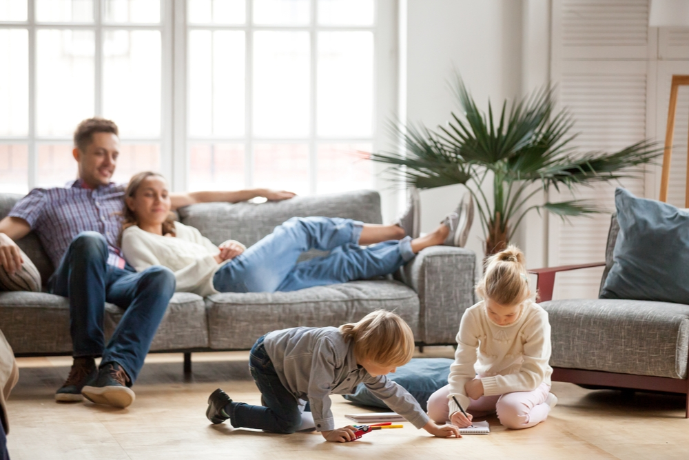 Family enjoys the living room