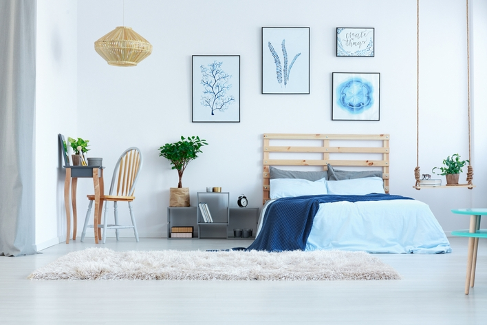 Light colored walls in a bedroom