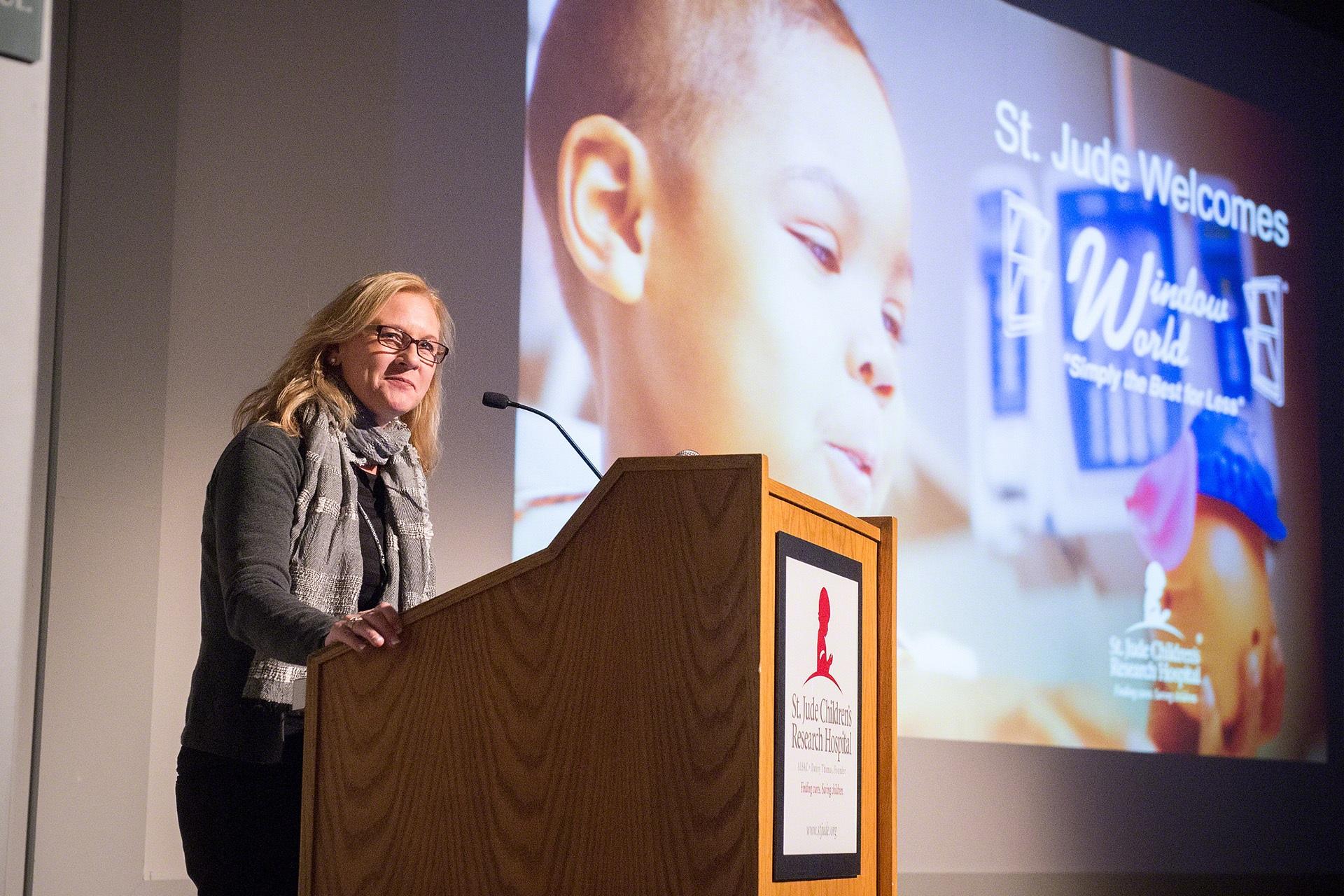 Window World CEO Tammy Whitworth speaks at St. Jude