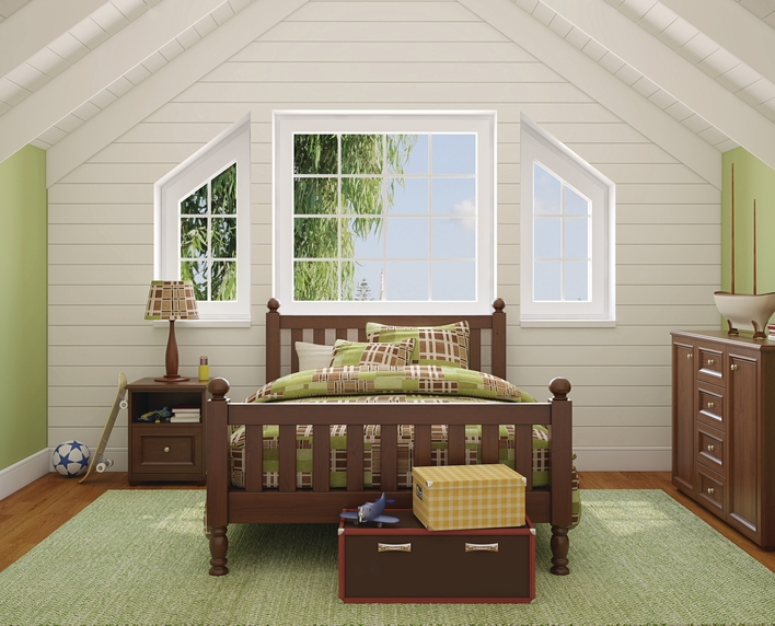 Architectural shape windows in a bedroom