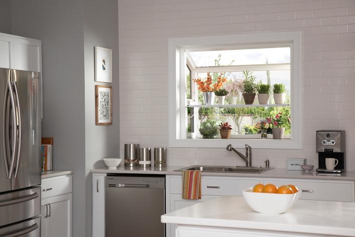 Garden window in a kitchen