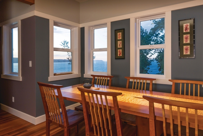 Single-hung window in a kitchen