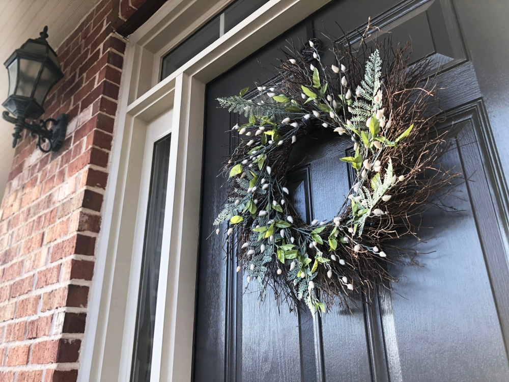 Wreath on black door